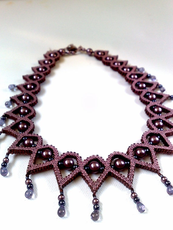 Beaded Quilled necklace - handmade beadwork gift