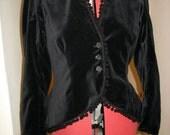 Pretty Victorian style black cotton velvet peplum jacket with bobble trim