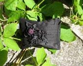 Pretty Victorian style black silk lavender pouch or sachet