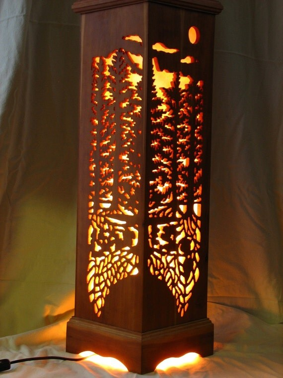 Cherry Wood Forest Lamp
