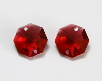 2 pcs. Swarovski Crystal Chandelier Bordeaux 8116 Octagon Two Holes 14 mm.