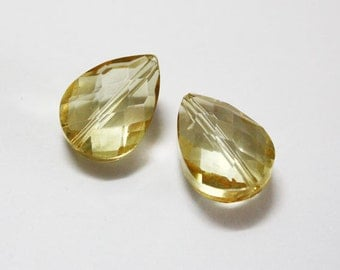 2 pcs. Chinese Faceted Glass Teardrop Crystal Golden Shadow 18x13 mm.