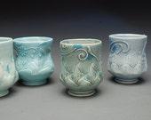 Yunomi (tea bowl) Victorian modern Blue w. blue