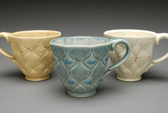 NEW Victorian modern coffee cup in Blue on Blue