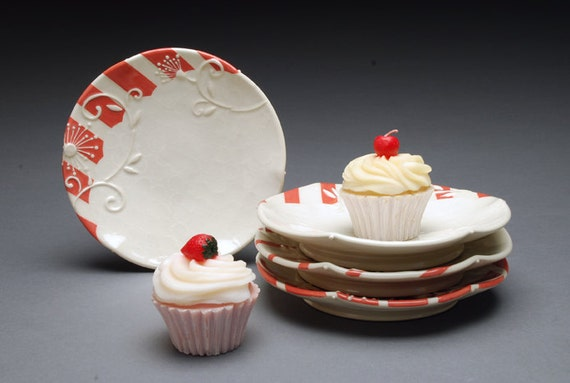 RESERVED: Small dessert / serving plates, SET of Four in Red and ivory stripes
