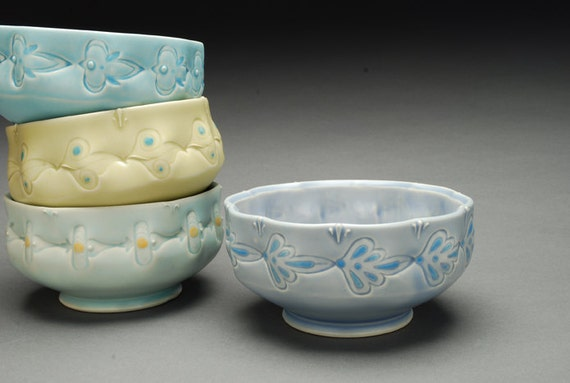 Small serving / dessert bowl NEW Victorian boho folk in Periwinkle and sky blue