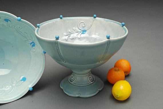 Fruit bowl / pedestal compote Victorian modern in Cornflower blue