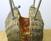 Fantastic Metal Gold Straw Basket Purse with Latch