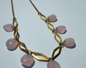 Rose Quartz and Gold Geometric Necklace