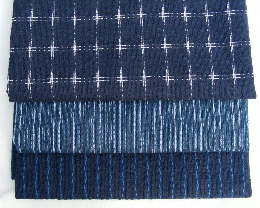 Japanese indigo cotton fabric three fat quarters Blue and