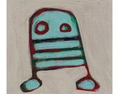 Robot - Original Painting on Salvaged Cereal Box - 7.5 x 7.5 inches