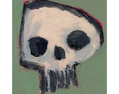 Momento Mori - Original Abstract Painting on Reclaimed Cereal Box - 6 x 8 inches