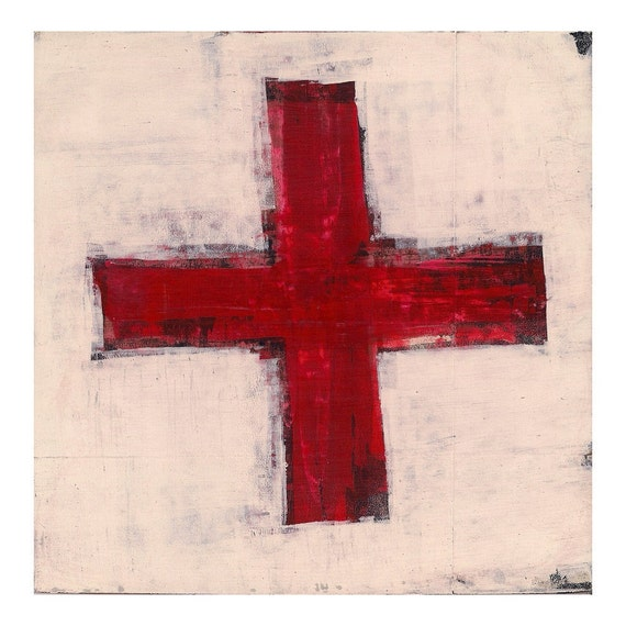 Cross No. 16 - Original Abstract Painting on Masonite - Approx. 8 x 8 inches