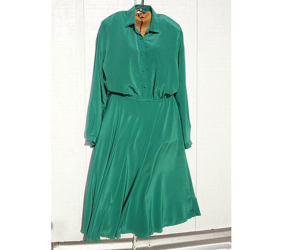Emerald Green Poly Silk 70's Secretary Dress size 14