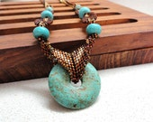 Long turquoise necklace, gemstone turquoise necklace, jewelry turquoise necklace