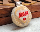 Mother's day jewelry MOM pendant mom necklace polymer clay pendant