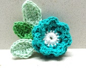 Crocheted flower jewelry supplies  Two(2 )layers turquoise Crocheted rose handmade applique with 3 green leaves  by Artefyk - artefyk