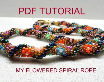 My Flowered Spiral Crochet Beads Rope pattern Tutorial (advanced & beginners) for personal use only