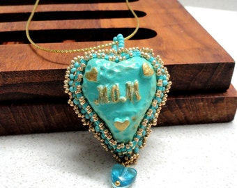 Pendant jewelry MOM necklace handmade polymer clay turquoise hollow heart beadwork by artefyk