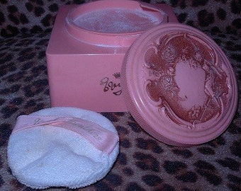 Evyan White Sholders Pink Dusting Powder Containr and Puff True Vintage