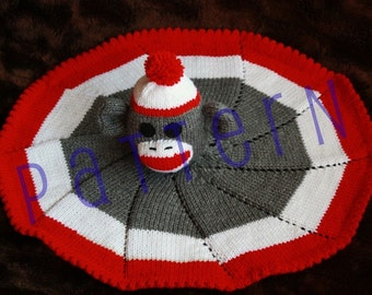 Sock Monkey Lovie Baby Blanket (pdf knitting pattern)
