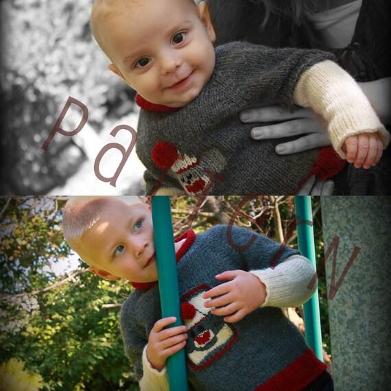 Knitting Pattern For Sock Monkey Sweater : Items similar to Baby and Child Sock Monkey Sweater Patterns (pdf knitting pa...