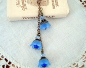 Necklace Blue Flower Vintage Inspired, Neo Victorian, Forget Me Not Brass Bronze