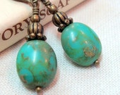 Archaic Turquoise Glass Earrings Vintage Inspired, Neo Victorian, Antiqued Brass