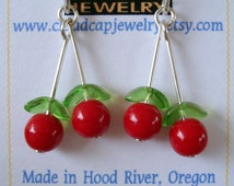 Cherry Earrings, Handmade, Dangly Sterling Silver Earrings with Cherries, Silver and Red Fruit