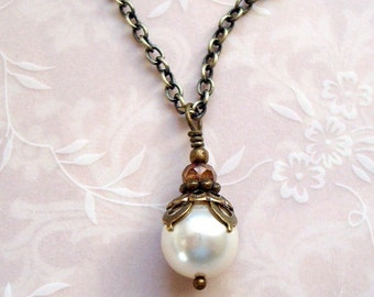 Neo Victorian Necklace with Cream 9mm Swarovski Pearl Dangle and Antiqued Brass