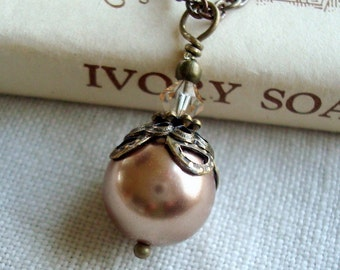 Neo Victorian Necklace in Vintage Inspired Style with Bronze Swarovski Pearl