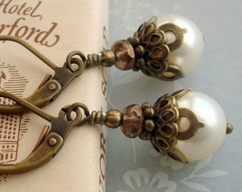 Neo Victorian Earrings with 9mm Cream Swarovski Pearl Dangle and Antiqued Brass