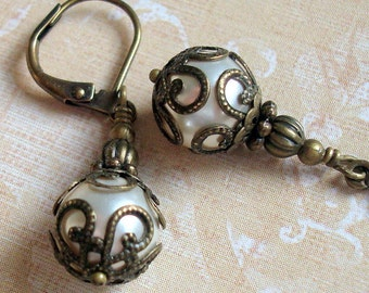 Vintage Inspired Swarovski Pearl Earrings in an Art Nouveau Style