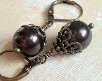 Brown Swarovski Pearl Dangle Earrings in the Neo Victorian Jewelry Style