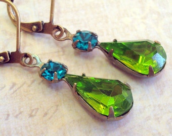 Vintage Rhinestone Earrings, Estate Style, Blue and Green, Vintage Glass Rhinestones, Neo Victorian Jewelry, Peridot Green and Blue Zircon