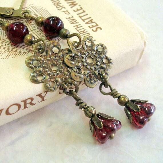 Antiqued Brass Filigree Vintage Inspired, Neo Victorian Drop Earrings