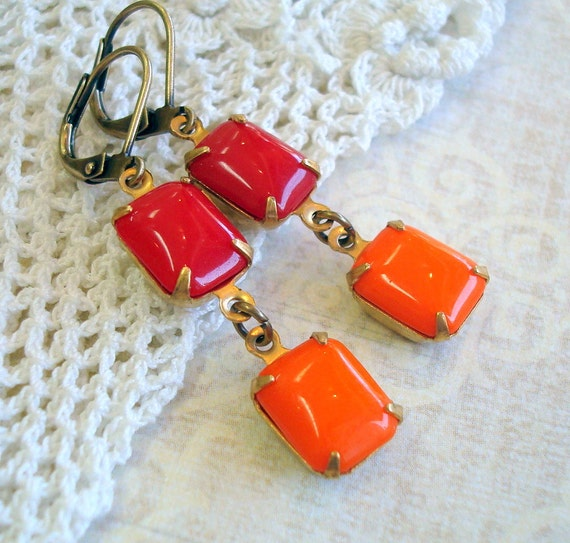 Vintage Rhinestone Earrings , Estate Style , Neo Victorian Jewelry , Antiqued Brass, Orange and Red Chicklets