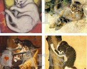 Vintage Cats, INSTANT DOWNLOAD, 2 x 2 inch squares -- digital collage sheet