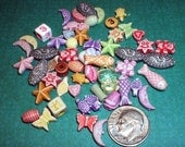 Big Mix of Acrylic Figural Beads  Fish Stars Moons Turtles Teddy Bears Etc