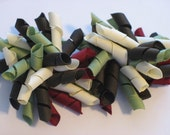 Burgandy Red, Brown, Cream and Light Olive Green Korker hair bow