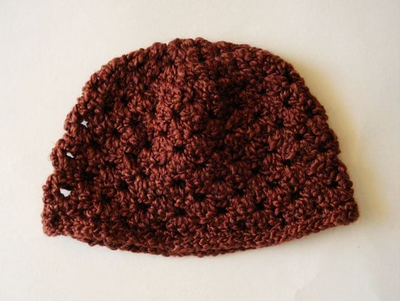 Crocheted Hat - rust, burgundy, copper