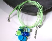 Wing Ding Waterfall-Sea Greens- handmade lampwork bead double paddle dangle necklace in lime greens and aquas