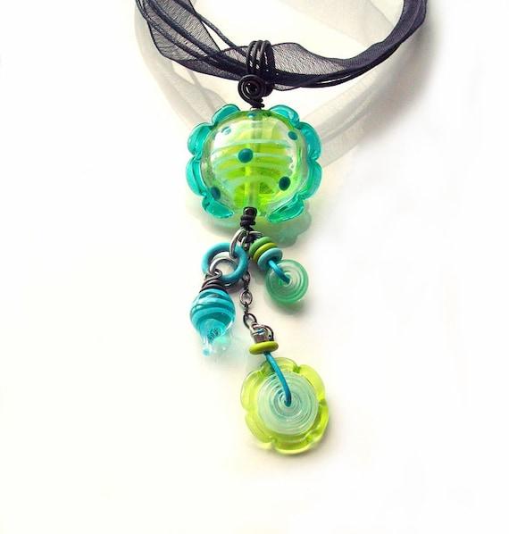 Mixed-Media Pendant Kit- Tornado Candy Ruffle- handmade lampwork bead kit in lime green teal and aqua