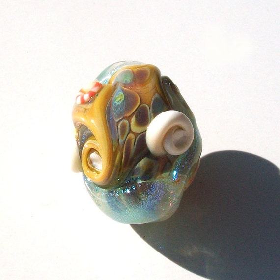 Beach Egg- Crystal Pool Wave- handmade lampwork bead -  small beach focal with rough texture rainbow raku caramel seafoam and  dichroic