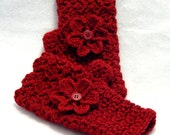 Ruby Red crochet fingerless gloves with flower, texting gloves, red