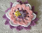 Sweet and Sentimental Flower Brooch, Crochet Thread Pin, FB162-01