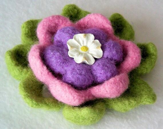 Sun on Her Face Felted Wool Flower Brooch