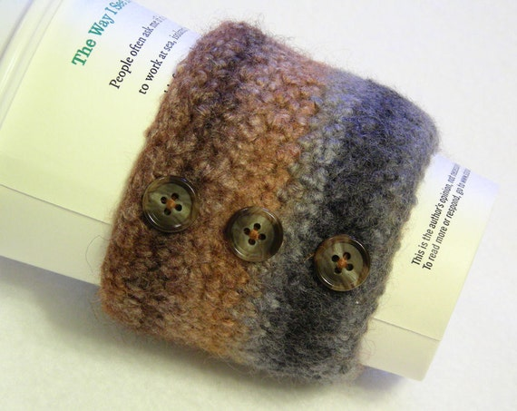 Coffee cup cozy or candle wrap, java jacket, coffee cup sleeve, felted, wool, crochet, brown, caramel, gray, charcoal