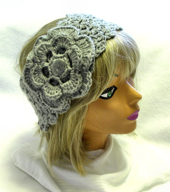 Crochet headwarmer with flower, steel gray, adjustable width
