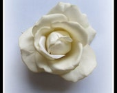 Ivory Real Touch Open Rose Hair Flower Clip - Hand-dyed - Wedding or Prom